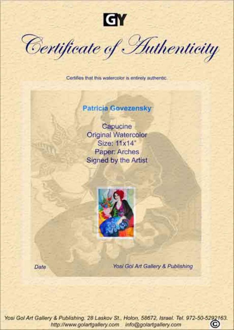 "Patricia Govezensky- Original Watercolor ""Capucine"" - 4"