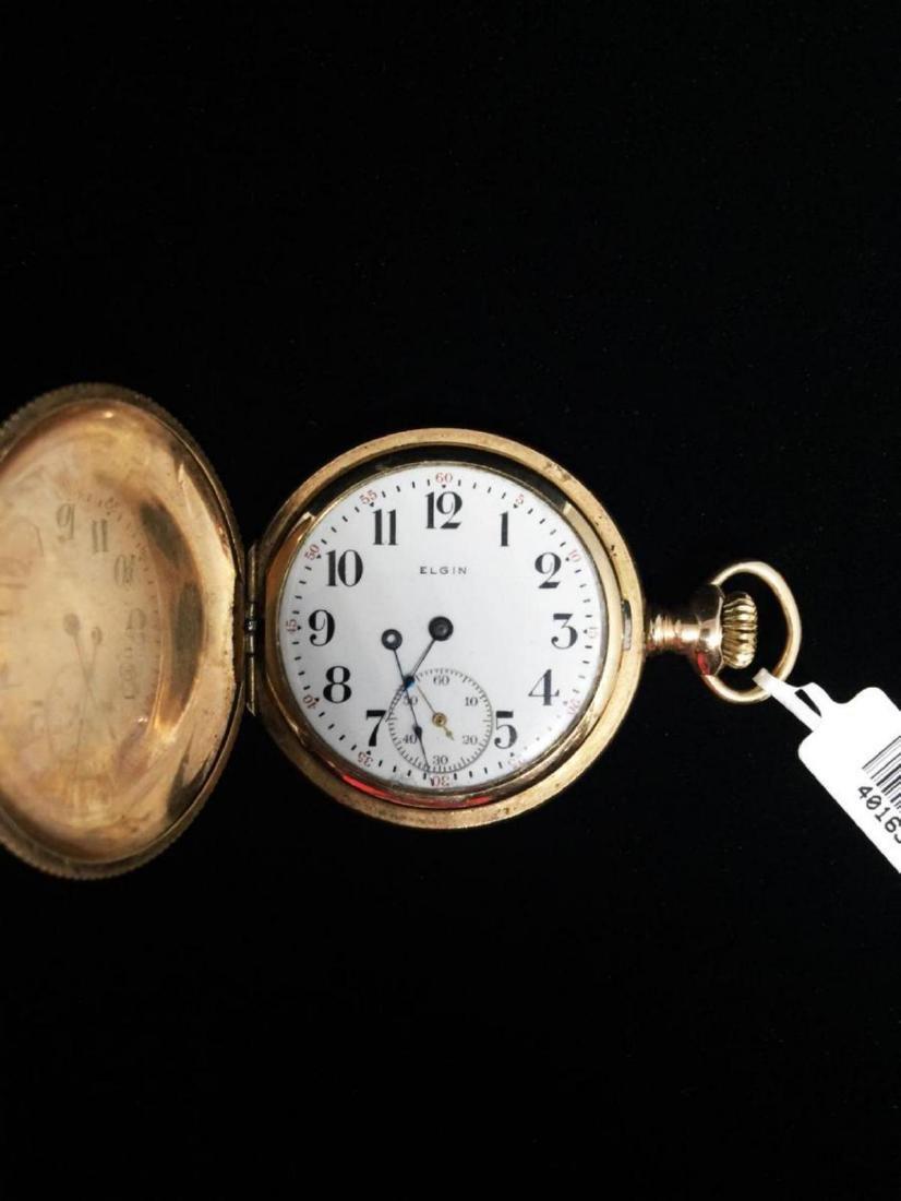 14KGF 1900 Elgin 6s 15j Sub-Seconds Dial Pocket Watch