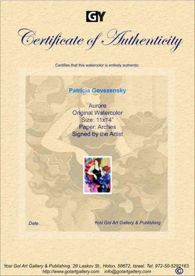 "Patricia Govezensky- Original Watercolor ""Aurore"" - 3"