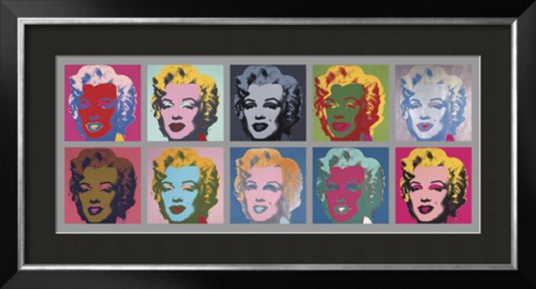 """Andy Warhol """"Ten Marilyns, 1967"""" Custom Framed"""