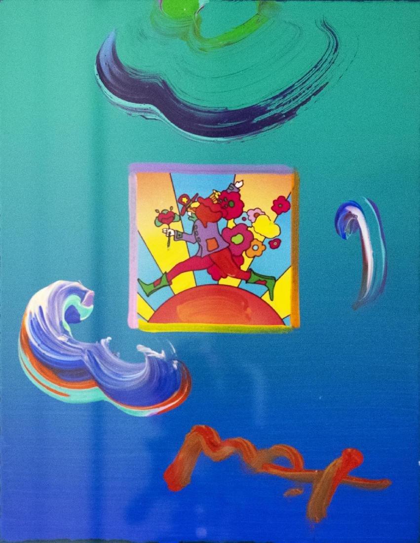 "Peter Max- Original Mixed Media ""Flower Jumper Over - 2"