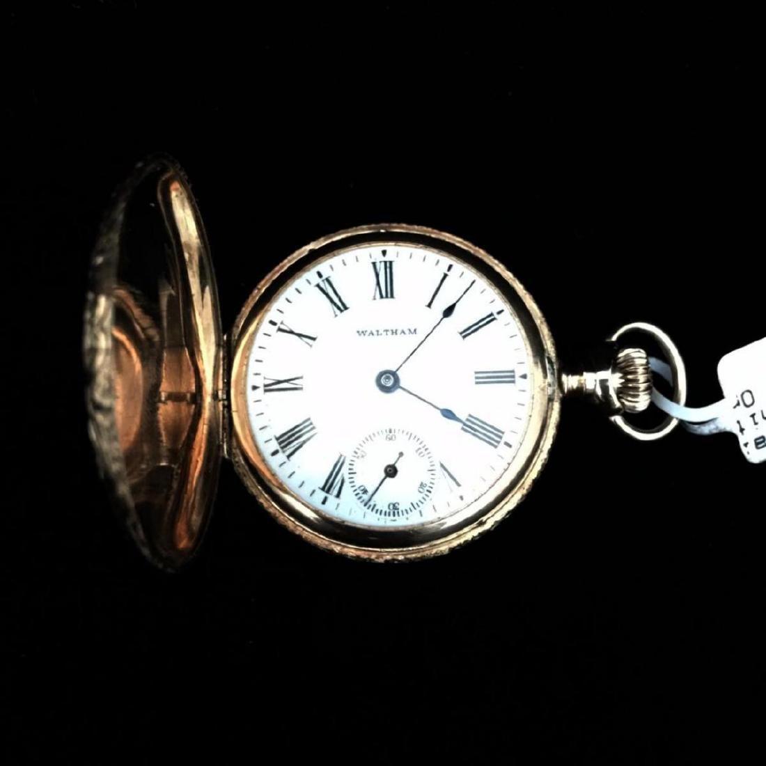 14KY 1903 Waltham 0s 7j Hunter Case Pocket Watch