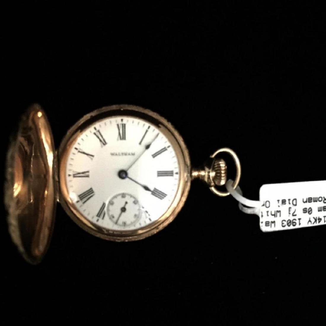 14KY 1903 Waltham 0s 7j Hunter Case Pocket Watch - 4