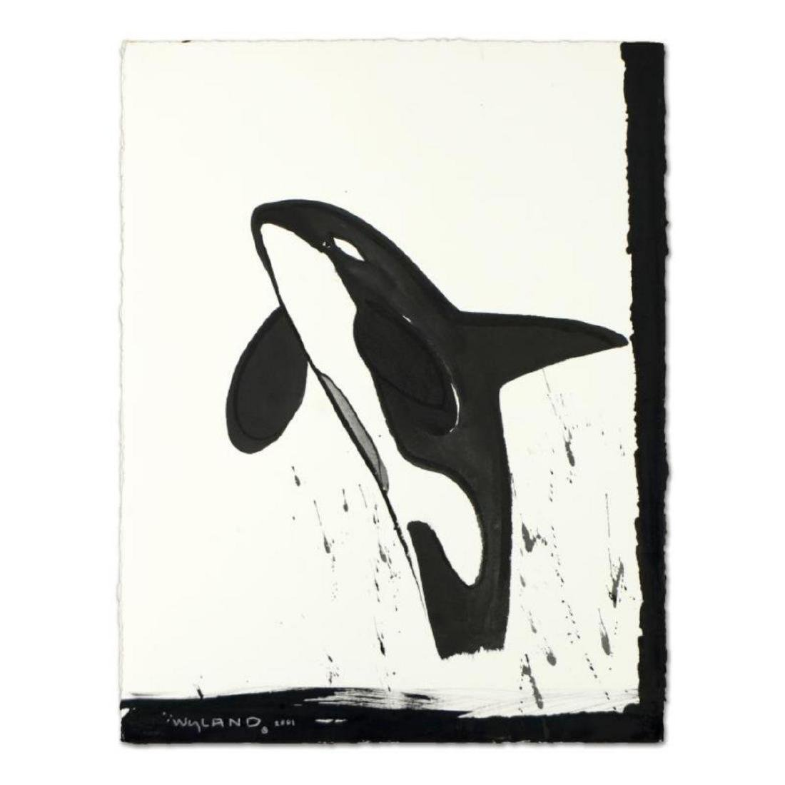 """Wyland, """"Orca"""" Original Sumi Ink Painting, Hand Signed"""