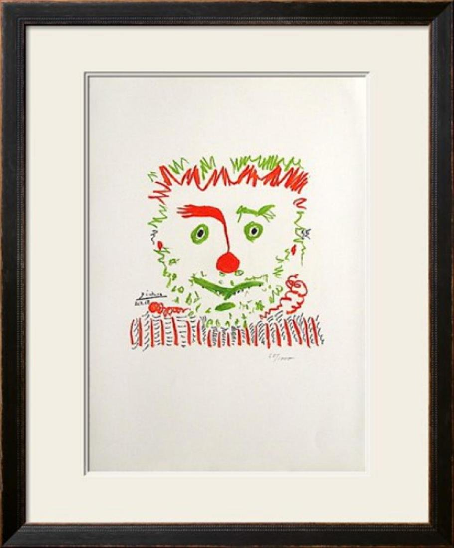 "Pablo Picasso ""Le clown"" Custom Framed Lithograph"