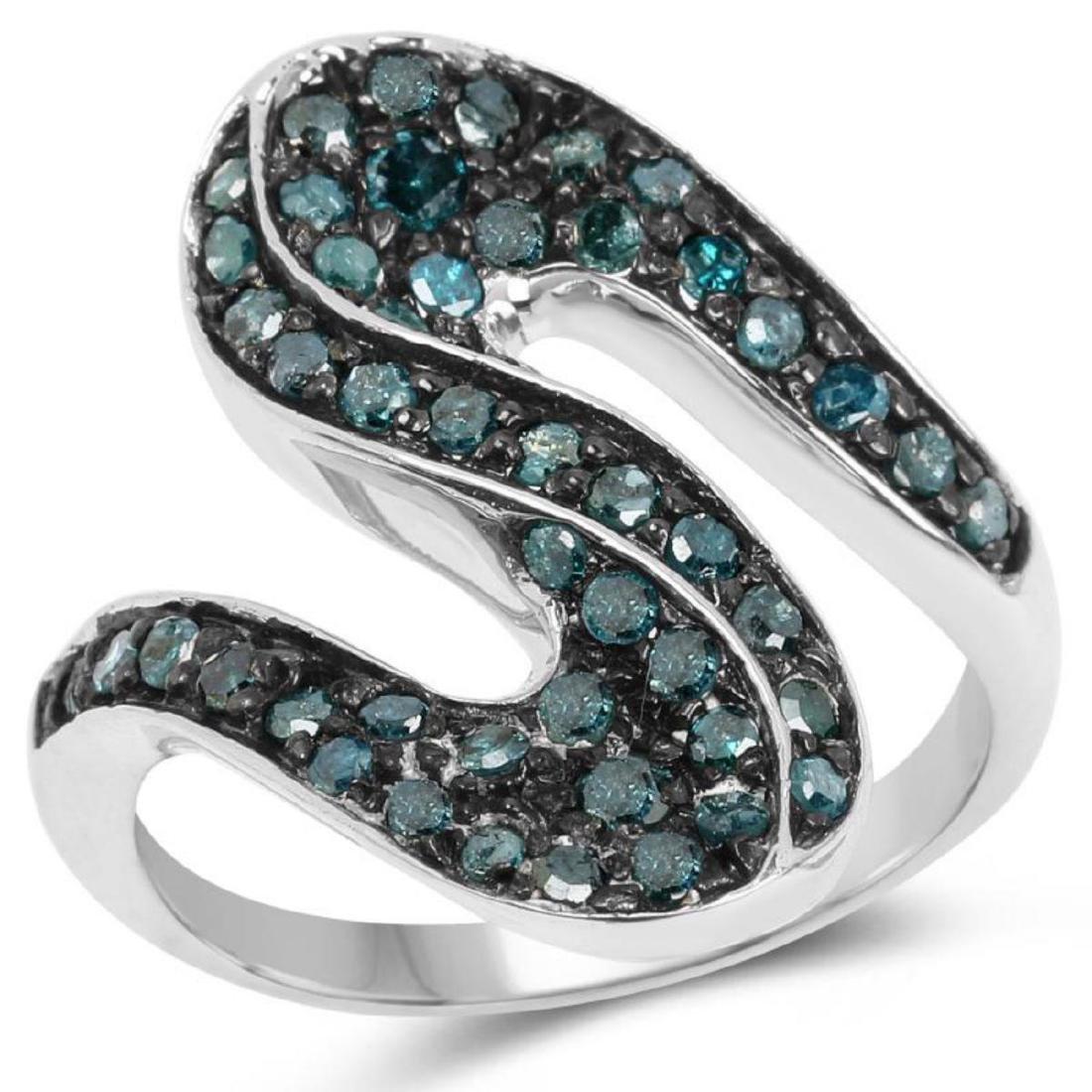0.76 Carat Genuine Blue Diamond .925 Sterling Silver