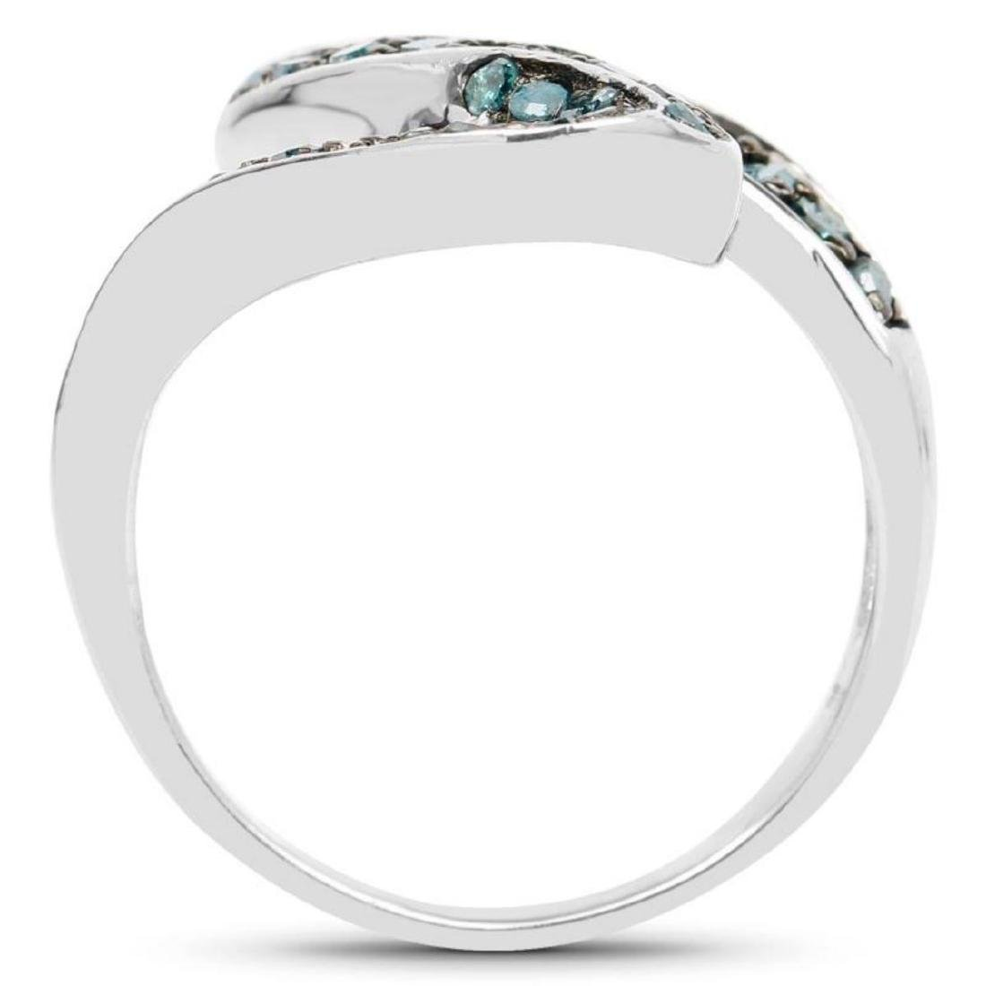 0.76 Carat Genuine Blue Diamond .925 Sterling Silver - 2