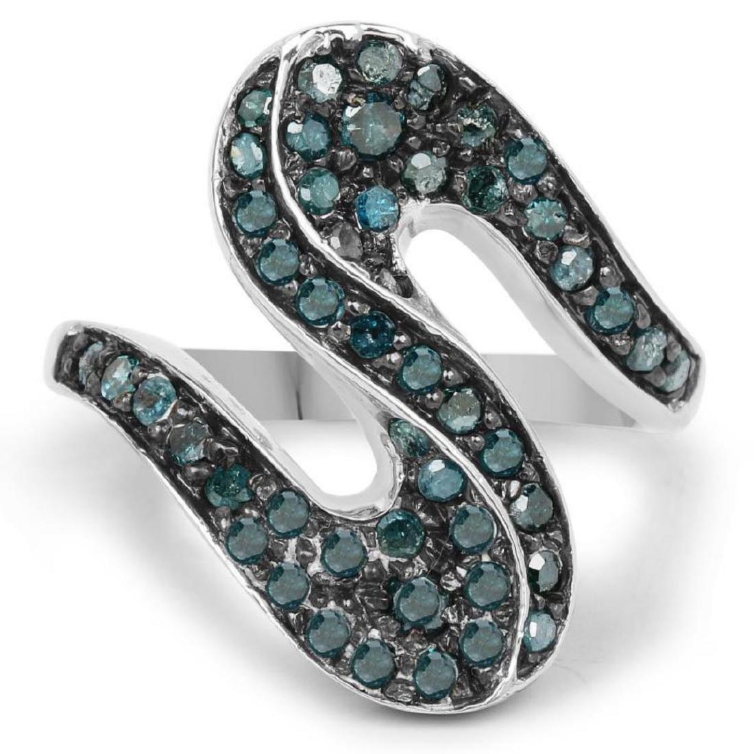 0.76 Carat Genuine Blue Diamond .925 Sterling Silver - 3