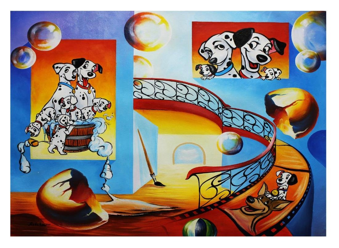 "Alexander Astahov- Original Oil on Canvas ""Dalmatians"