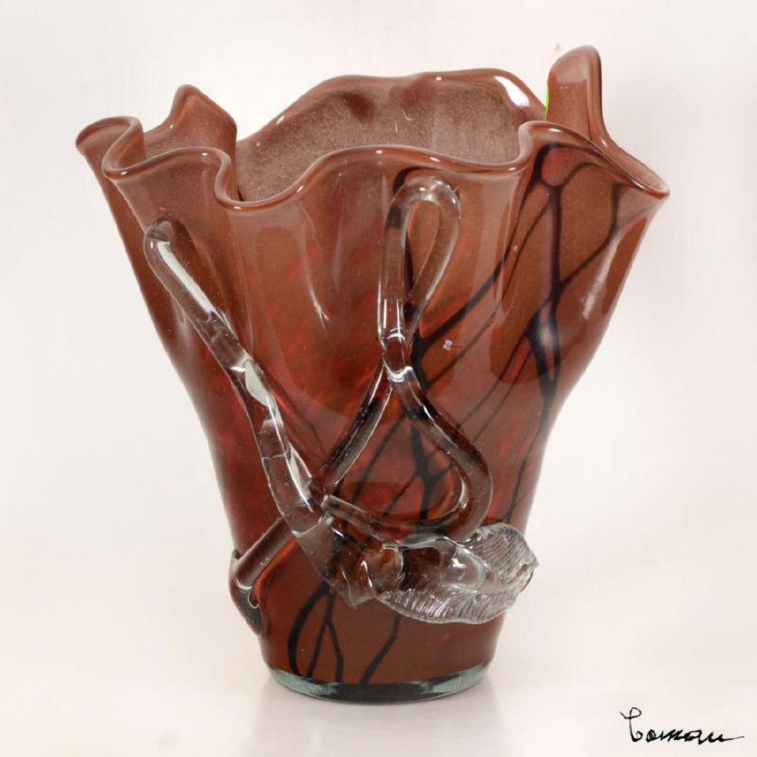 Coman, Hand Blown Glass Vase Sculpture, Hand Signed.