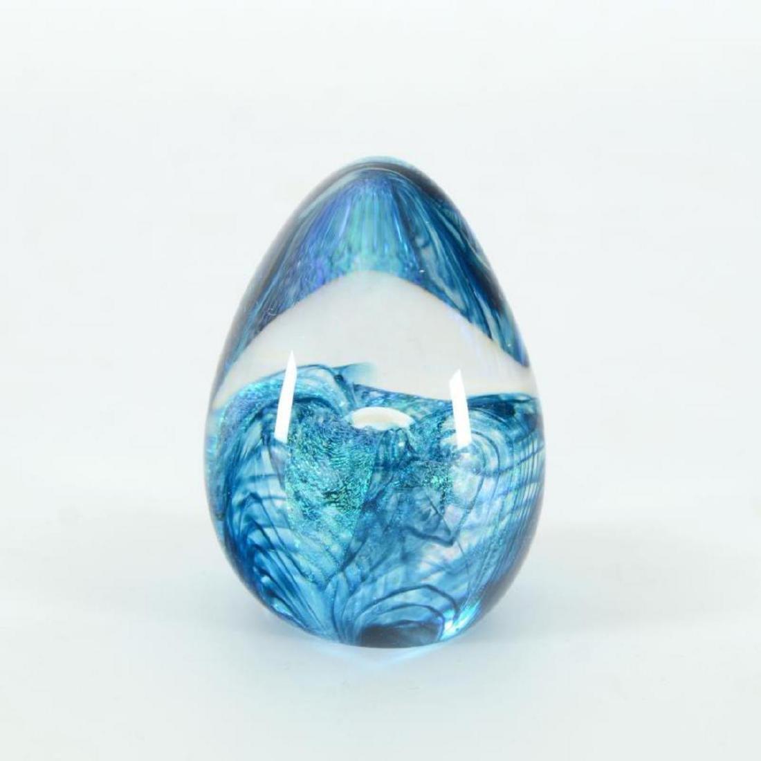 "Glass Eye Studios, ""Aqua Flower"" Hand Blown Glass Egg"
