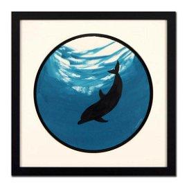 "Wyland, ""Dolphin (Green)"" Framed Original Watercolor"
