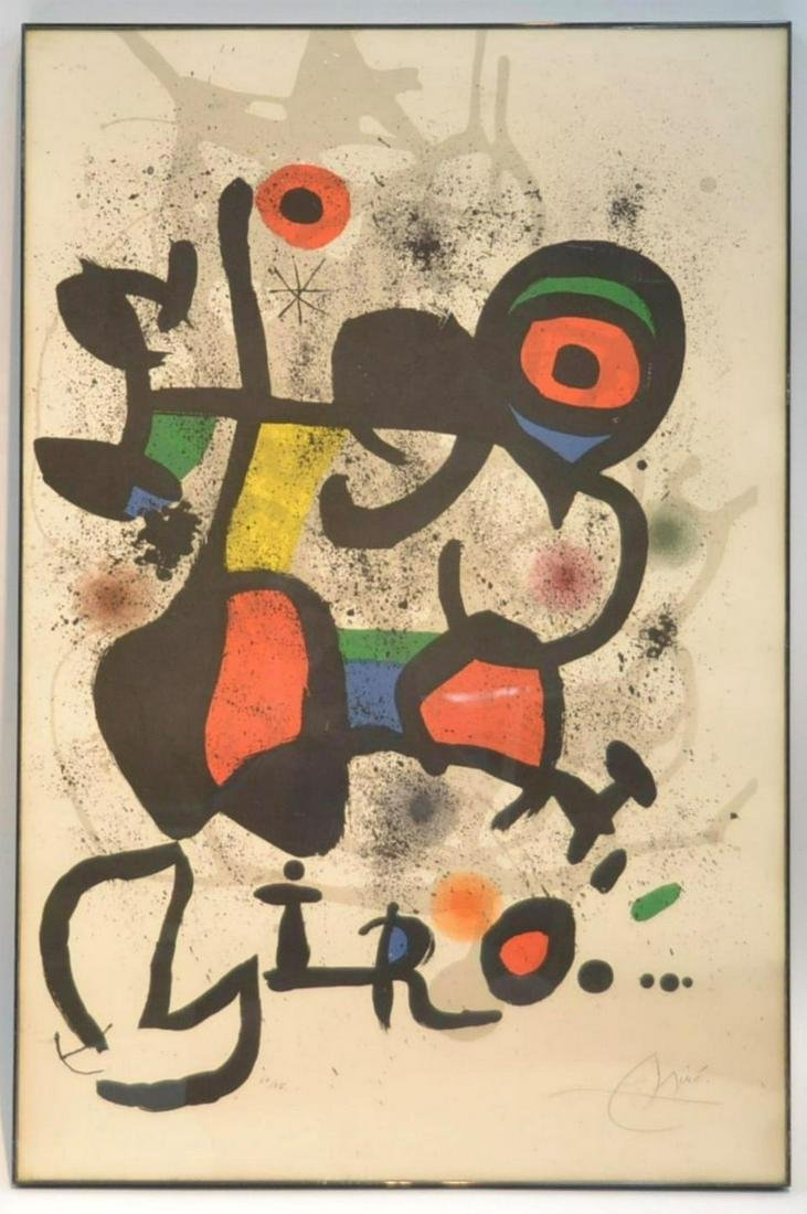 Joan Miro Hand Signed and Numbered Lithograph on Paper