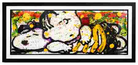 """Tom Everhart- Hand Pulled Original Lithograph """"Snooze"""