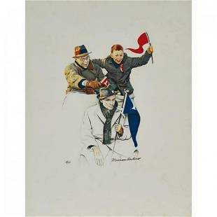 Norman Rockwell 18941978 Boy and Father Cheering
