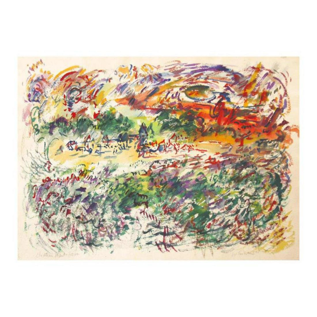 "Wayne Ensrud ""Chateau Haut-Brion in Autumn"" Watercolor"