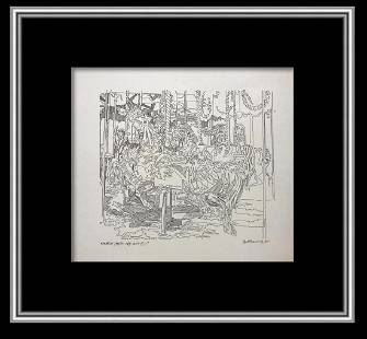 Guillaume Azoulay Original Pen and Ink Drawing on Paper