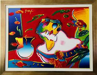 """Peter Max Original Acrylic Painting on Canvas """"Flower"""