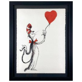 "Mr Brainwash, ""Cat and the Heart (Balloon)"" Framed"