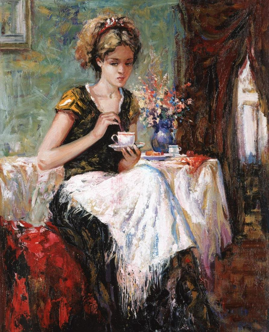 "Igor Semeko- Original Giclee on Canvas ""Cue of Tea"""