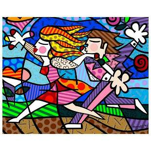 """Romero Britto """"New Love Blossoms"""" Hand Signed Giclee on"""