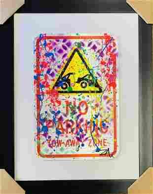 "E.M. Zax Original hand painted metal street sign ""No"