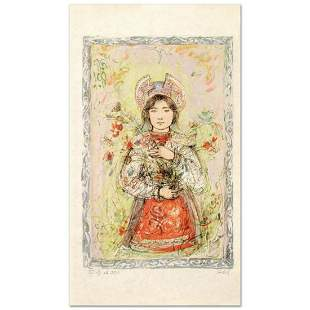 """Tonnette"" Limited Edition Lithograph by Edna Hibel"