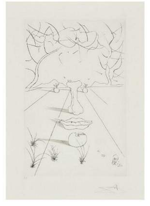 "Salvador Dali Etching with drypoint ""From the Portfolio"