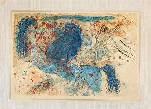 REUVEN RUBIN Two blue horses 1968 Lithograph