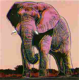 """Andy Warhol- Screenprint in colors """"African Elephant"""""""