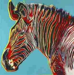 "Andy Warhol- Screenprint in colors ""Grevy's Zebra"""