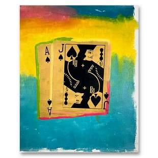 """Steve Kaufman (1960-2010), """"Royal Flush Gold"""" Hand"""