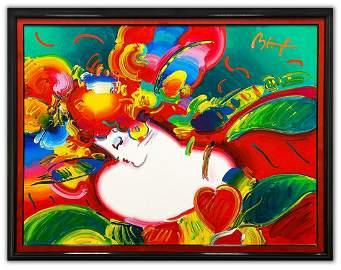 "Peter Max- Original Acrylic on Canvas ""Flower Blossom"