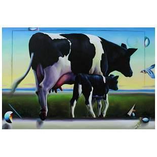 "Ferjo, ""Green Pastures"" Original Painting on Canvas,"