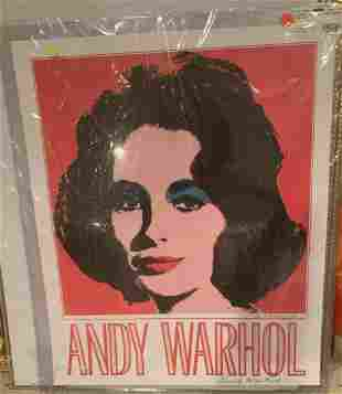 """Andy Warhol Offset Lithograph on Linen Paper """"Elizabeth"""