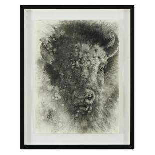 Vincent Cacciotti, Framed Original Charcoal Drawing,