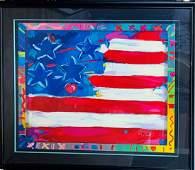 """Peter Max Serigraph """"Flag"""""""