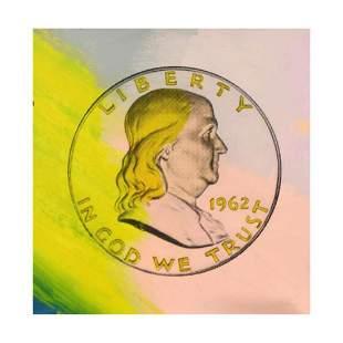 """Steve Kaufman (1960-2010), """"1963 Liberty Ben Coin"""" Hand"""