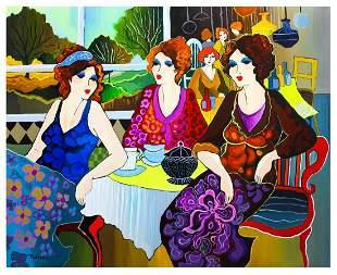 "Patricia Govezensky- Original Acrylic on Canvas ""Cafe"