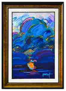 "Peter Max- Original Mixed Media ""Summer Storm"""