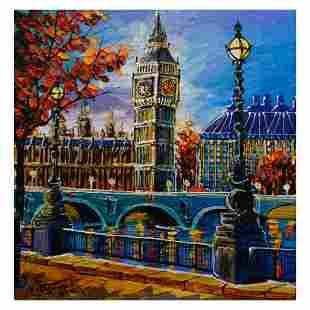 """Yana Rafael, """"View of Big Ben"""" Hand Signed Original"""