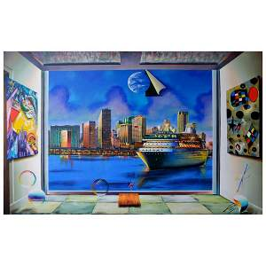 "Ferjo, ""Maimi Cruising"" Original Painting on Canvas,"