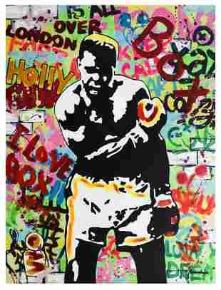 """Nastya Rovenskaya- Mixed Media """"Muhammad Ali"""""""