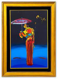 "Peter Max- Original Mixed Media ""Umbrella Man with"