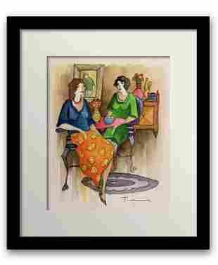 Itzchak tarkay Original Watercolor on paper Custom