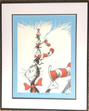 "Dr. Seuss Serigraph on Coventry Rag  Paper ""LITTLE CATS"