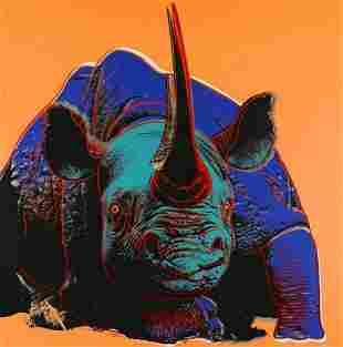 """Andy Warhol- Screenprint in colors """"Black Rhinoceros"""""""
