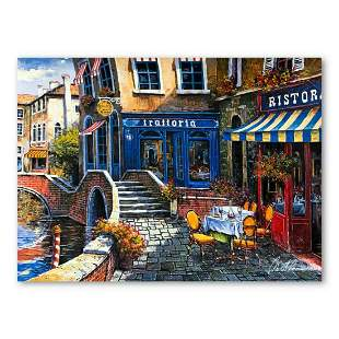 """Anatoly Metlan, """"Outdoor Cafe"""" Hand Signed Limited"""