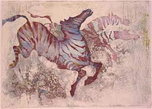 "Edwin Salomon- Original Serigraph ""Zebras"""