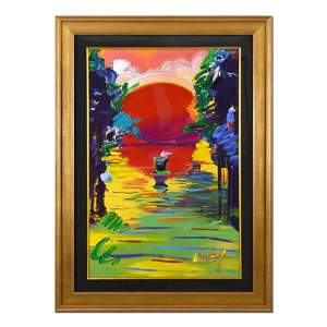 """Peter Max, """"Better World"""" Framed One-Of-A-Kind Acrylic"""